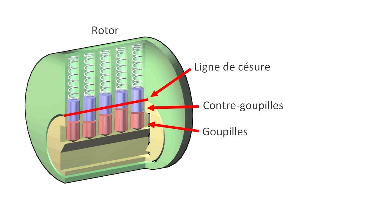 schéma illustrant le fonctionne d'une serrure à goupilles